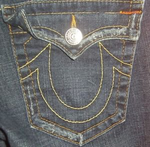"True Religion Womens Jeans, Waist 30"", Inseam 32"", Dark, Joey *EUC* Boot Cut"