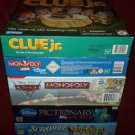 Lot Of 5 Board Games Monopoly Cars -Clue Jr-Scrabble Jr Etc. *EUC* Complete