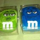 "Green & Blue M&M's Stuffed 6"" to 8"" Plush Candy Toys Pucker Lips 2010 CASED NIB*"
