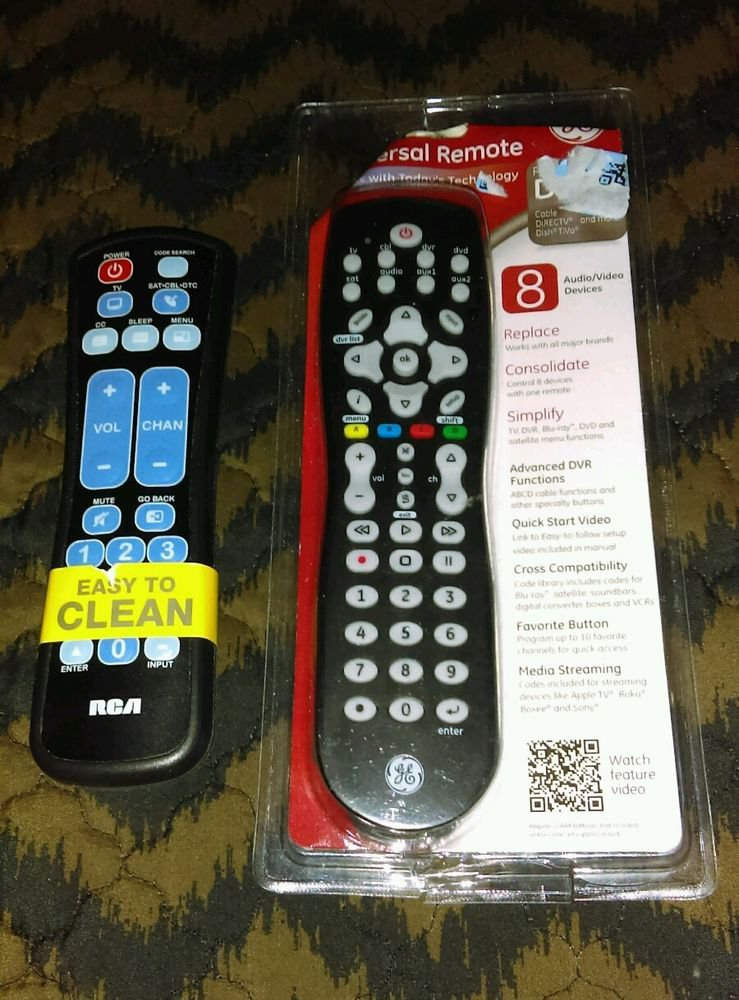 Lot of 2 Universal Remote Controls GE & RCA *No Setup Manual* BRAND NEW