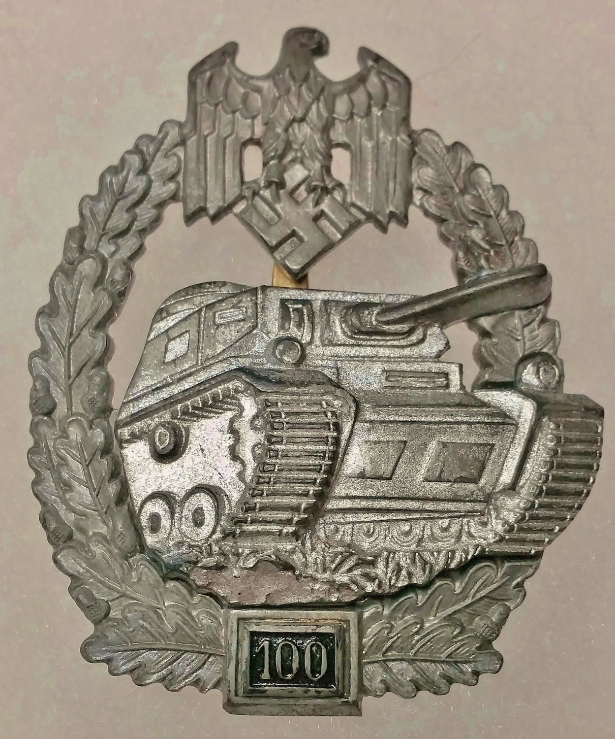 WWII GERMAN PANZER ASSAULT BADGE - SPECIAL GRADE 100