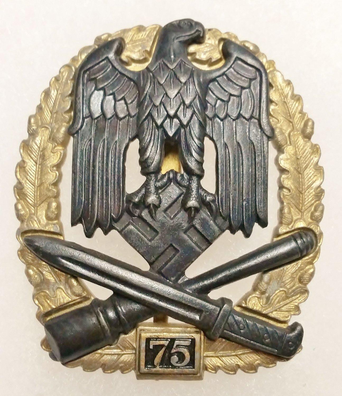 WWII GERMAN NAZI GENERAL ASSAULT BADGE - SPECIAL GRADE 75