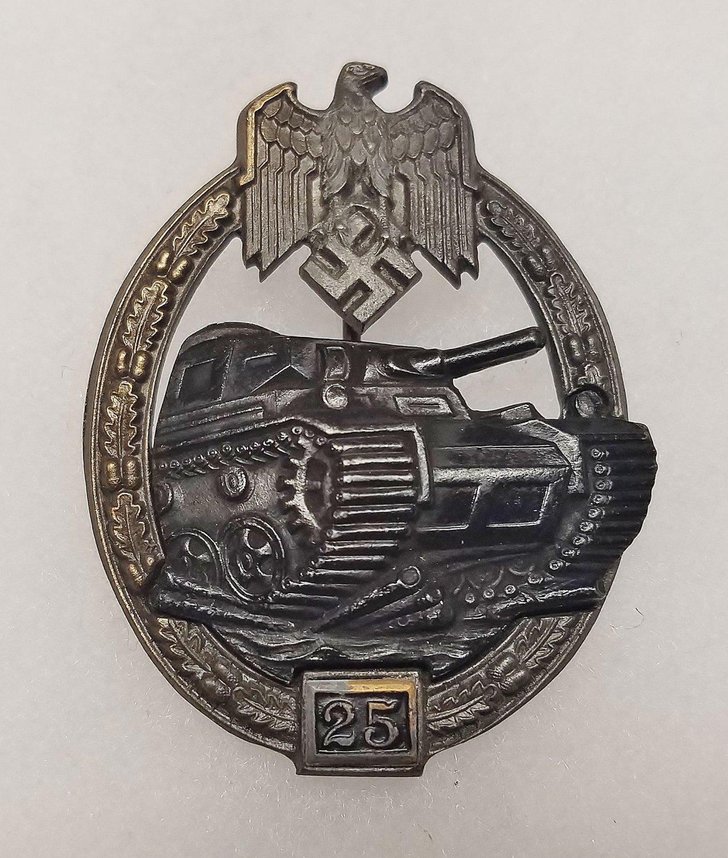 WWII GERMAN NAZI PANZER ASSAULT BADGE - SPECIAL GRADE 25