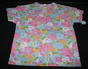 NWT Jaylyn Scrub V Neck Top Shirt M Womens Blue & Pink Flowers Nursing Vet