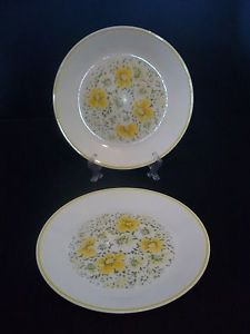 "Set of 2 Corelle 10 1/4"" Dinner Plates ""April"" pattern features Yellow Flowers"