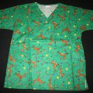 NEW Scrubtime Scrub Top Shirt XS Womens V-Neck Reindeer Green Nursing Vet