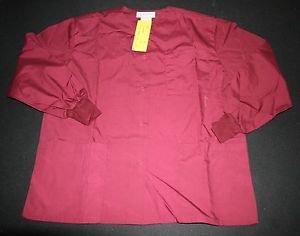 NEW Natural Uniforms Scrub Shirt Top XS Maroon Warm-up Jacket Womens Nursing Vet