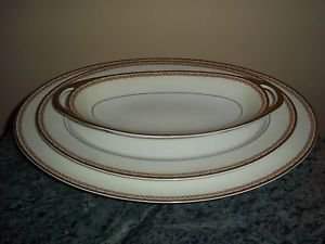 3 Oval Serving Platters Dishes Haviland Limoges France Gold Trim