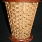 # Vtg Rare Berea College Woodcraft Waste Can Container handcrafted w/ woven cane