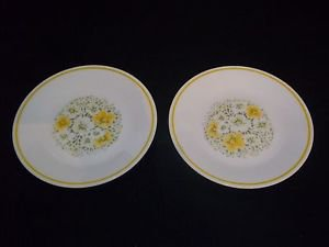"lot of 2-Corning Corelle April Yellow Flowers Bread Plates 6 3/4"" diam"