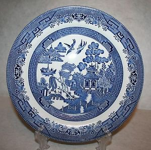 """CHURCHILL England BLUE WILLOW Dinner PLATES 10 3/8"""" ~MINT~ MULTIPLES AVAILABLE"""