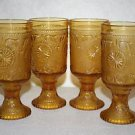 Amber Indiana Glass Tiara Sandwich Glass Footed Drinking Glass- Set of 4