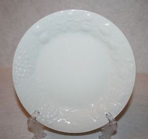 Farberware Blanc Sur Blanc Salad Plate White Raised Fruit MULTIPLES AVAILABLE