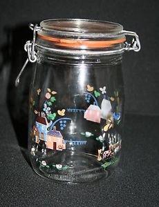 Vintage ARC Arcopal France Hinged Canister Jar ~ Country Cottages 1 Liter