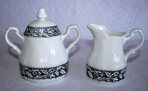 J&G Meakin RENAISSANCE Black Creamer & Sugar with Lid English Sterling
