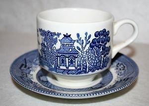 CHURCHILL England BLUE WILLOW Flat Cup & Saucer