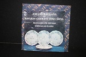 """4 NIB Johann Haviland Bavaria German Fine China Blue Garland 7 3/4"""" Salad Plates"""