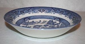 """CHURCHILL England BLUE WILLOW Round Vegetable Bowl 8 7/8"""" ~MINT~"""