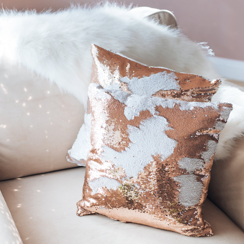 Mermaid Flip Sequin Pillow (Champagne Gold) Insert Mermaid Magic Glitter Reversible