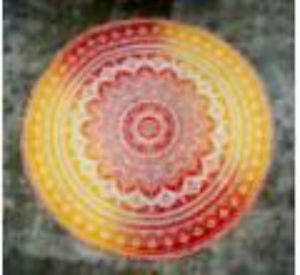 Ankit Fire Ombre Round Mandala Cotton Tapestry