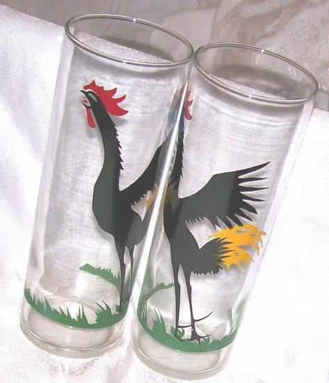 2 1950'S FEDERAL CROWING ROOSTER GLASS TUMBLERS