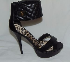 Quipoel Women's Black Ankle Strap Gold Clasp/Fastener High Heel Shoe Size 8