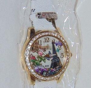 Paris Eiffel Tower (White Band) Leather-like Quartz Watch Crystal Wristwatch