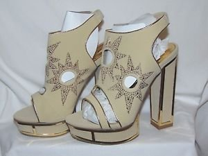 "ALBA ESQUIRE Open Toe Fashion 6"" Thick Heels Beige/Gold Rhinestone Shoe Size 7"