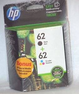 GENUINE HP 62 COMBO PACK BLACK & TRI-COLOR INK CARTRIDGES W/ BONUS EXP SEP 2017