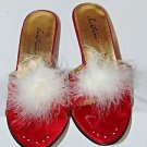 SECRET TREASURE Sexy Red Suede White Fringe Feather Jewel Slipper High Heel Sz 8