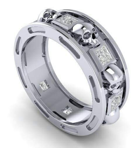 Skull Wedding Ring in Solid Silver