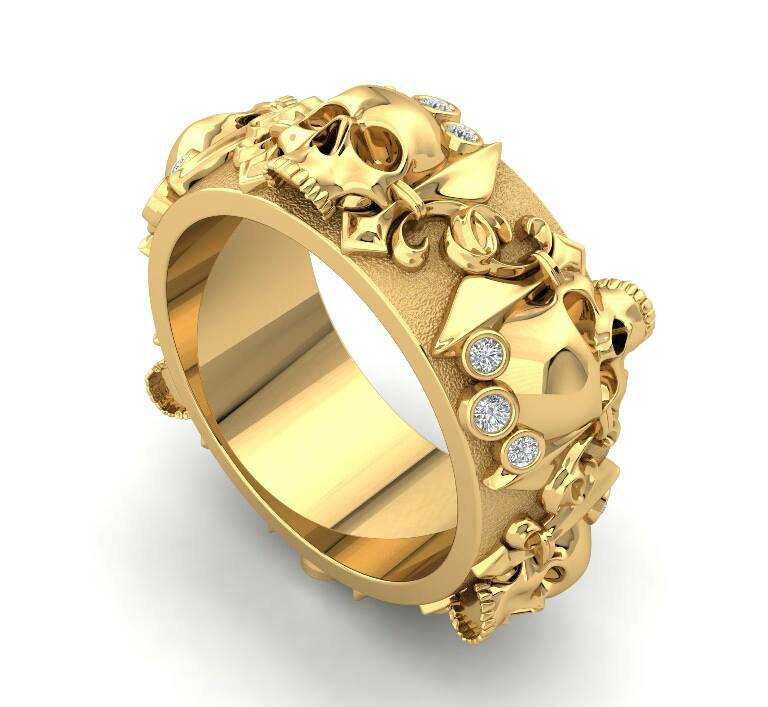 Skull Wedding Ring in 14 k