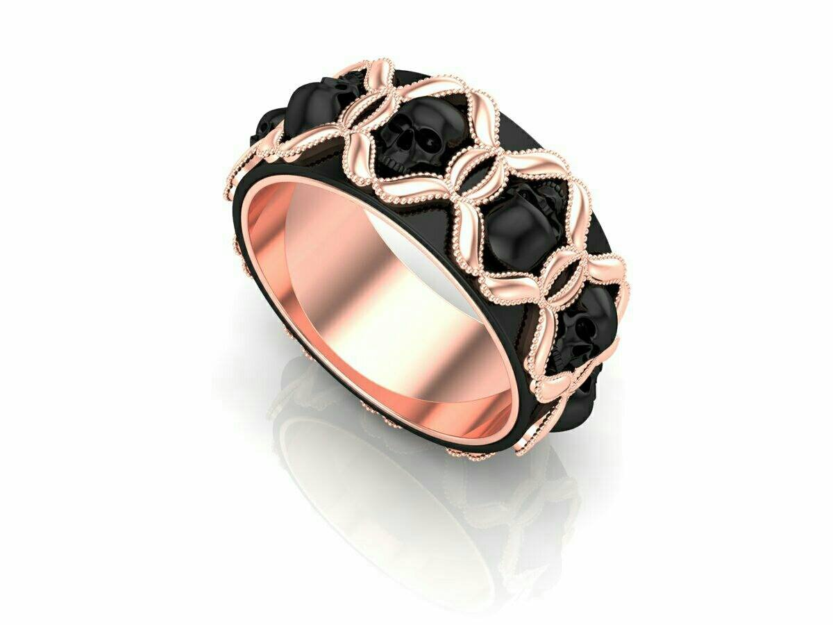 Skull Engagement Ring in Rose Gold 18 k
