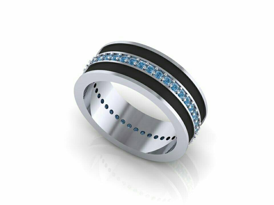 Blue Line Wedding Ring Solid 925 Silver