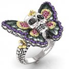 Skull Butterfly Engagement Ring