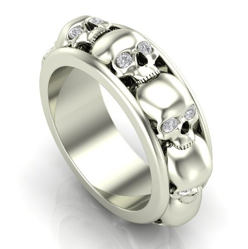 Stacked Skull Ring in 14 k White Gold