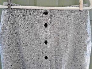 ORVIS Women's Black/White Check Wool Tweed Skirt Long Size 12 Fully Lined