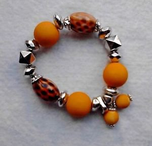 New Fashion Beads Stretchy Bracelet Yellow Leopard Beads Silver Tone Handmade