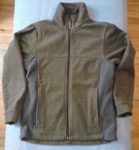 Columbia Fleece Jacket 10/12 Medium Kids Olive Green with Gray Long Sleeve
