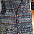 Lost Horizons Women's Sweater Vest Hand Knit in Nepal 100% Kettle Dyed Wool OS