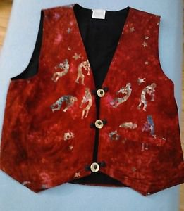 Global Village Vest Women Small Kokopelli Hand Batik BOHO Hippie Red FREE SHIP