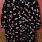 Puritan Large Men's Shirt Black Cocktail Party Bartender Hawaiian Rayon NWOT