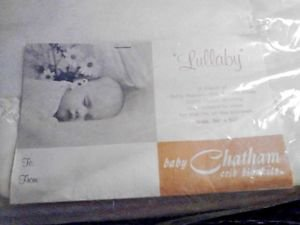Vintage CHATHAM Crib Blanket Rayon/Acrylic Satin Edge 36 X 50 SEALED NOS Lullaby