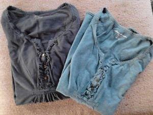 Eddie Bauer Cotton Shirts Girls Peasant BOHO Green Small Black Medium LOT 2