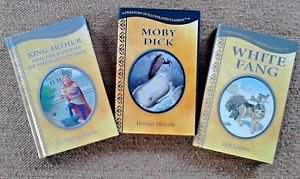 Moby Dick White Fang King Arthur Hardcover Treasury of Illustrated Classics LOT