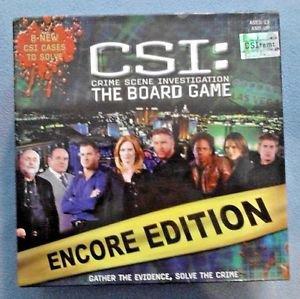 CSI Crime Scene Investigation Board Game Encore Edition NEW Sealed Pieces Cards