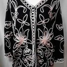 Lauren Michelle Woman Size 2X Lightweight Jacket Long Sleeves Abstract Floral