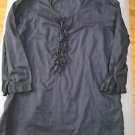 Lands End Blouse Navy Blue Shirt Womens Juniors Jr. Size 2   ¾ Sleeves  Ruffles