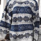 Women's Nordic Sweater Wool Handmade Fair Isle Cream Aqua Blue Grey Nepal