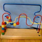Wooden Bead Maze Infant Toddler Preschool Toy Primary Colors Activity EUC CLEAN